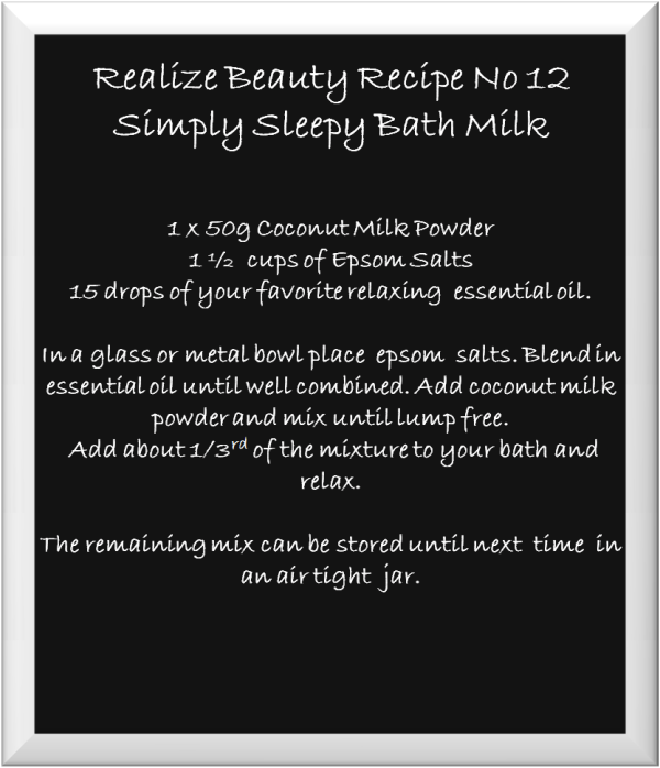 chalk board recipe card bath salts