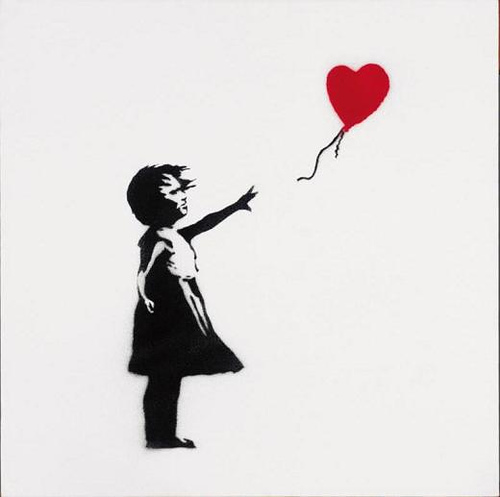 Image is copyrite of the artist Banksy. I love his work and encourage you to take a look at his website where you can purchase images like this on t-shirts and other items: http://banksyt-shirts.com